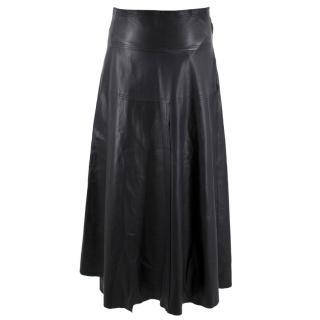 Victoria Beckham Leather Wrap Midi Skirt