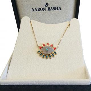 Aaron basha enamel evil eye pendant 14ct Gold RRP �1750
