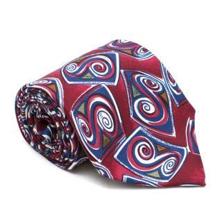 YSL Red & Navy Patterned Silk Tie