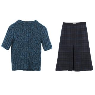 Bottega Veneta Metallic Blue Sweater and Checked Skirt