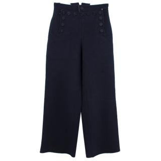 Joseph High Waisted Button Front Detail Wide Leg Trousers