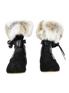 Isabel Marant rabbit-fur suede show couture boots