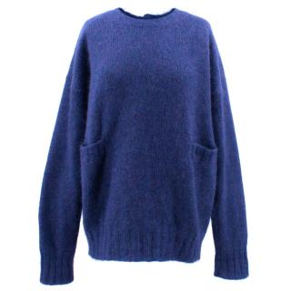 Marni Navy Mohair Back Button Jumper