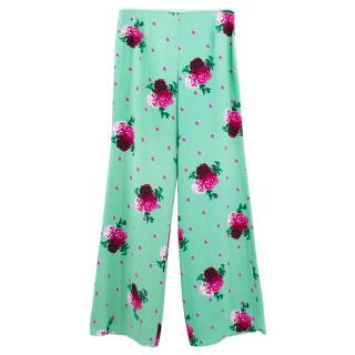 Marc Jacobs Flower Print Wide Leg Trousers