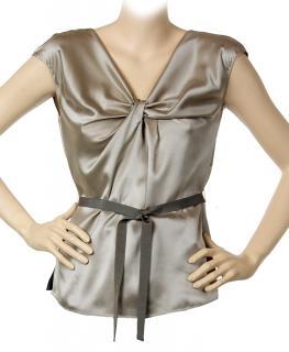 Paule Ka mushroom/taupe sleeveless silk blouse
