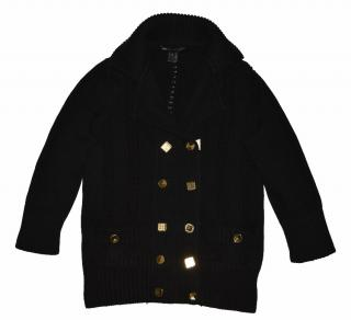 women's black double breasted cotton cardigan