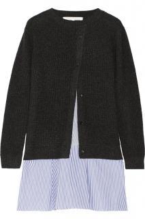 Thakoon  layered waffle-knit and striped poplin mini dress 2