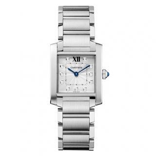 Cartier Tank Fran�aise medium stainless steel 11 diamonds watch