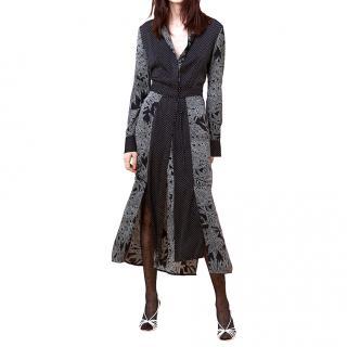 DIANE VON FURSTENBERG black printed silk midi dress