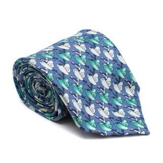 Harrods Blue Shells Pattern Tie
