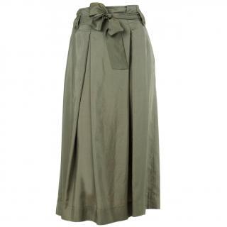 MaxMara Weekend Khaki Silk calf length skirt