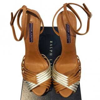 Ralph Lauren Collection Criss Cross Leather Sandal in brown and silver