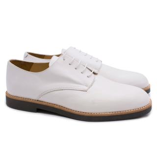 T & F Slack Shoemakers Handmade White Leather Brogues
