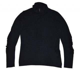women's dark blue wool cashmere silk turtleneck jumper