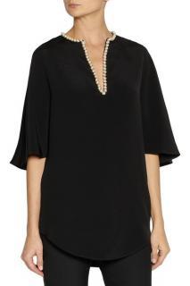 Alexander McQueen Pearl Embellished Silk Top