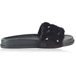 Valentino Mink Fur Sliders