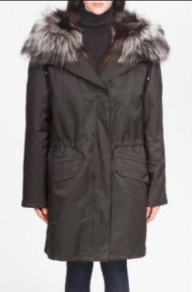 Yves Salomon Army Silver fox fur lined parka
