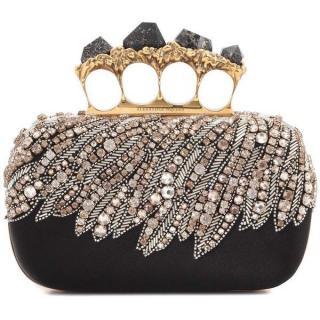 Alexander McQueen black satin knuckle clutch