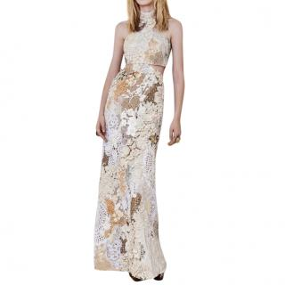 cedcb7fe41c Alexandra McQueen Embellished and Embroidered Gown