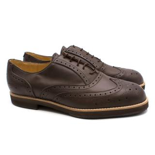 T & F Slack Shoemakers Dark Brown Leather Brogues
