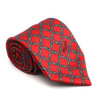 Vinuchi Red Rope Print Silk Tie