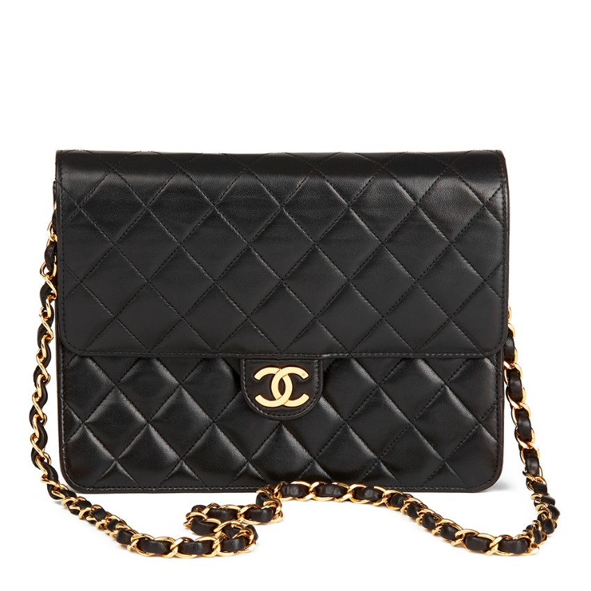 275dc6462b14 Chanel Black Quilted Lambskin Vintage Small Classic Single Flap Bag ...