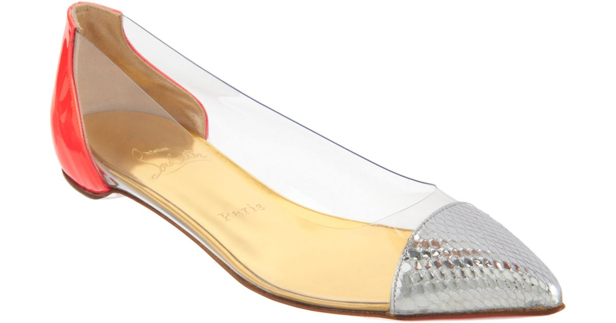 NEW Christian Louboutin patent leather & snakeskin flats