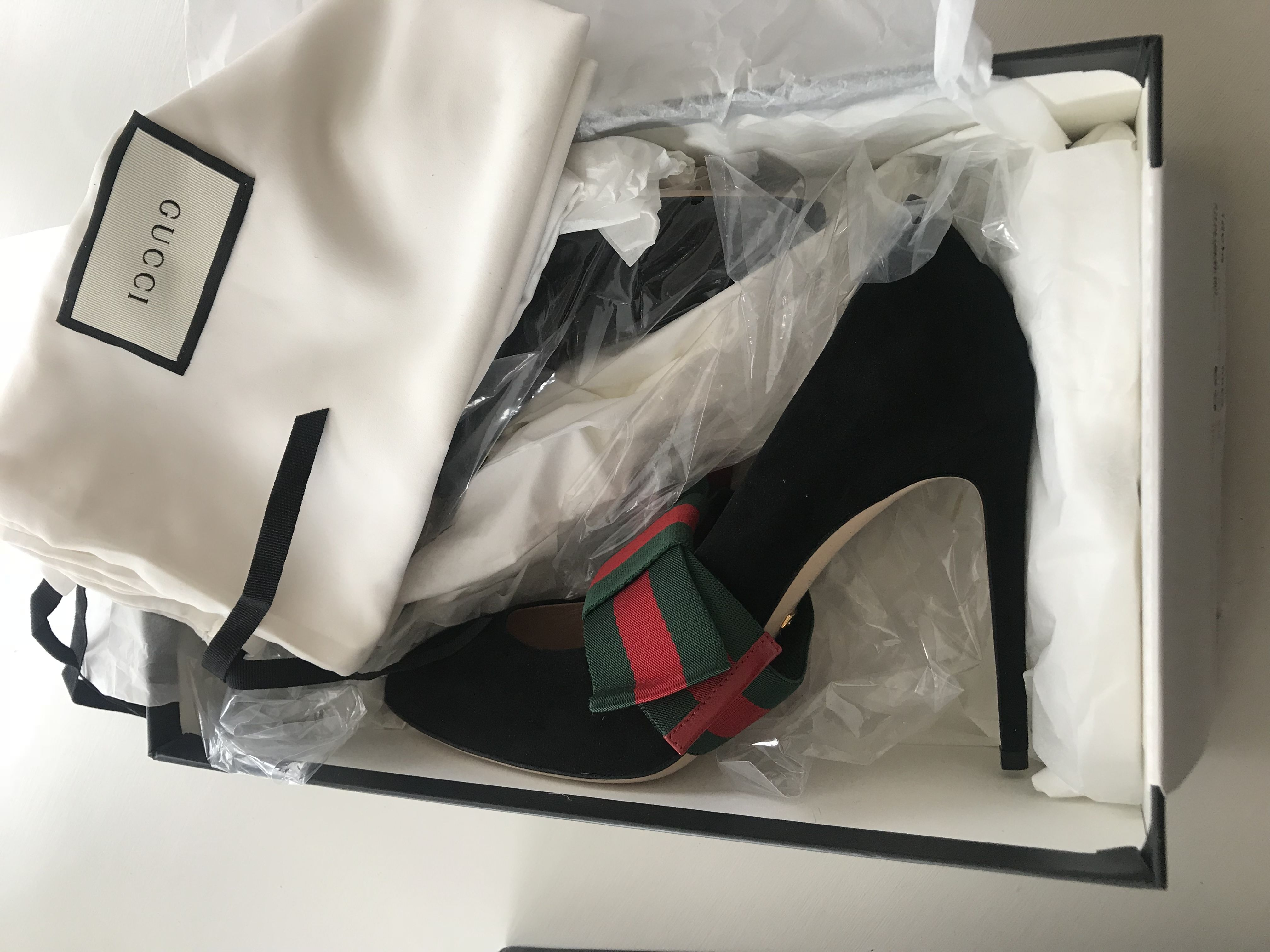 8dc5cfb1d6a7 Gucci Suede pump with removable Web bow - current S S 18. 25. 12345678910
