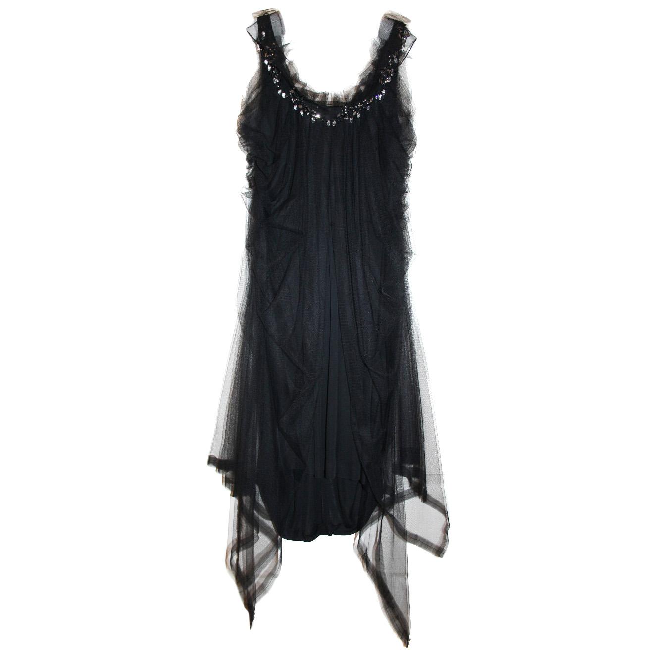 Nina Ricci black net & crystal-embellished evening dress