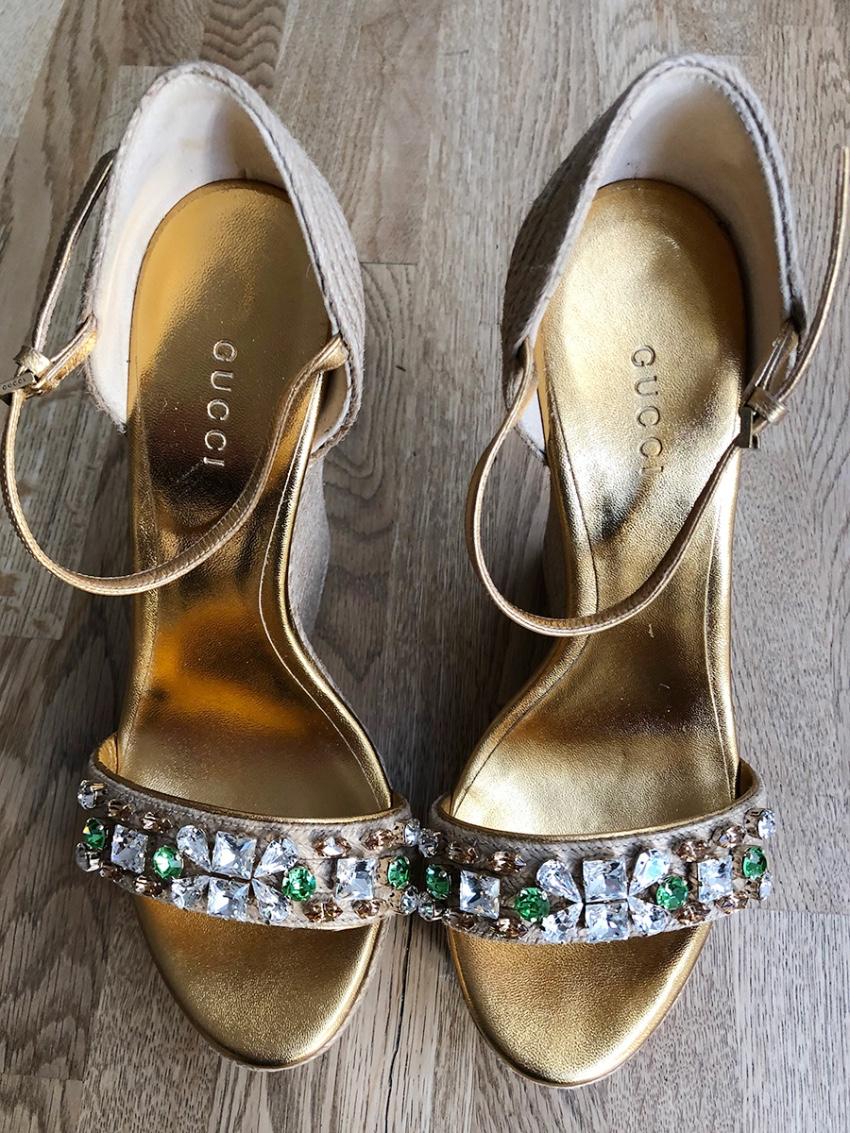 4ffa9f7fcbf4 Gucci Caroline Crystal Espadrille Sandals. 25. 12345678910