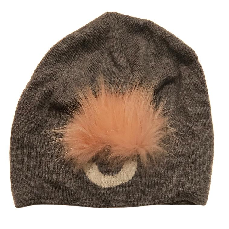 Fendi Grey Hat with Pom Pom