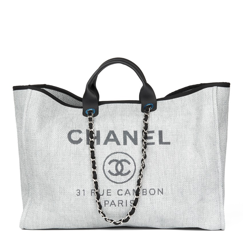 e8c5963311e8 Chanel Grey Canvas Calfskin Leather Extra Large Deauville Tote 2017 | HEWI  London