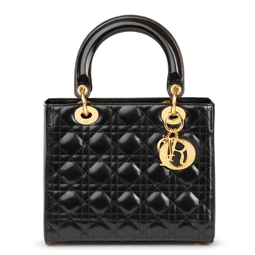 5bb6c8680e Christian Dior Black Quilted Medium Glazed Calfskin Leather Lady Dior