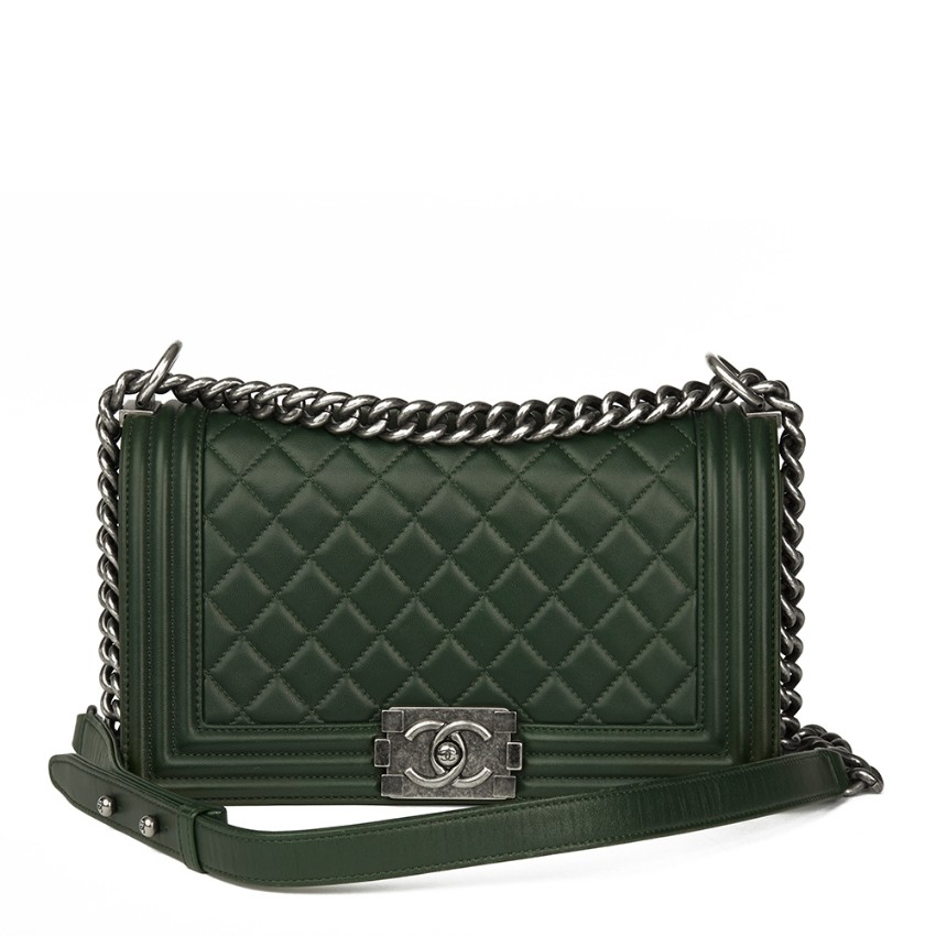 36f6bc5cc77 Chanel Medium Le Boy Forest Green Quilted Lambskin