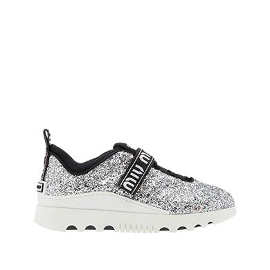32dd79efad4 Miu Miu Glitter Logo Sneakers