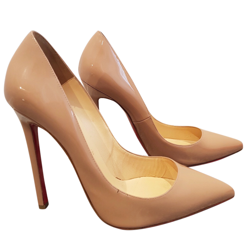 AUTH CHRISTIAN LOUBOUTIN NUDE CAMEL PATENT LEATHER SHOES