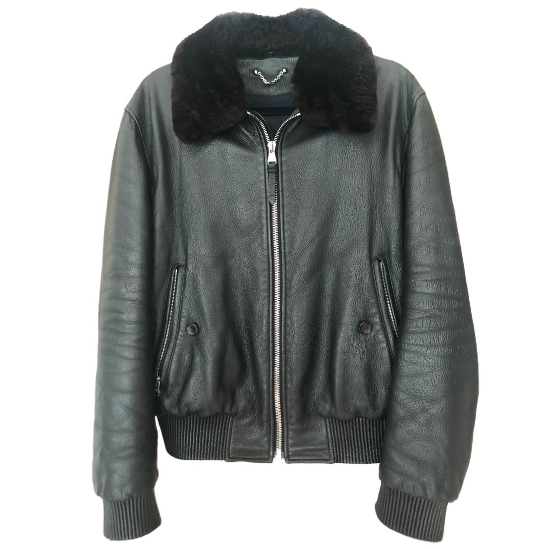 75f7d477 Louis Vuitton men's black leather jacket with removable fur collar
