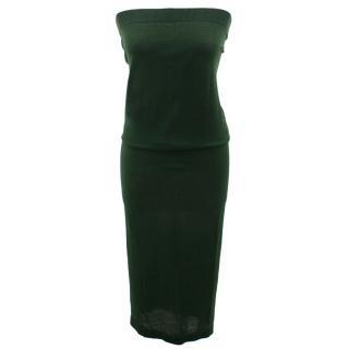 Bottega Veneta Midi Length Dark Green Knit Dress