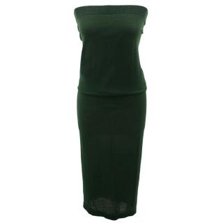 Bottega Veneta Midi Length Dark Green Knit Dress