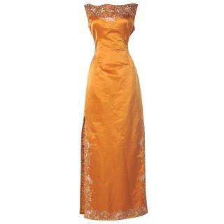 Eavis & Brown orange satin evening gown