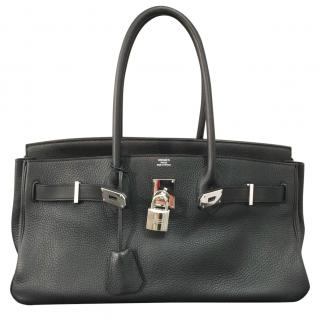 Hermes Black 40cm Clemence Leather Shoulder Birkin