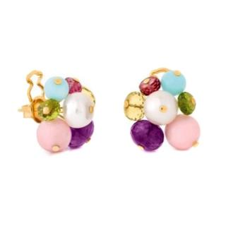 Tous Gold Kudara Earrings with Precious Gemstones