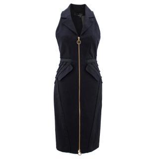 Amanda Wakeley Black Denim Zip-up Collared Dress