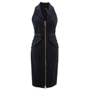 Amanda Wakeley Black Denim Zip-up Collared Dress