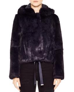 Sandro Fur Hooded Jacket
