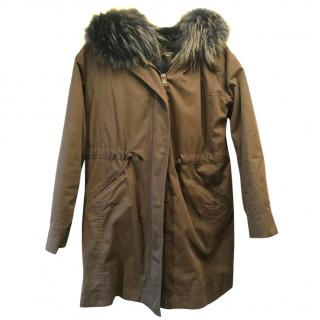 Max Mara Olive Fur Hooded Parka