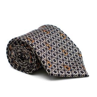 Zilli Black Link Pattern Tie