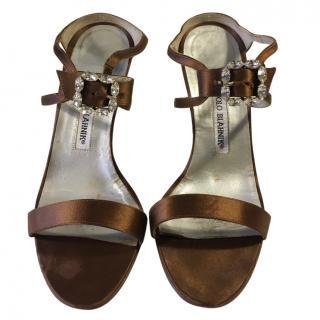 Manolo Blahnik Brown Satin Embellished Sandals REDUCED!