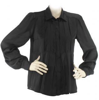 Sportmax black long sleeve pleated silk blouse