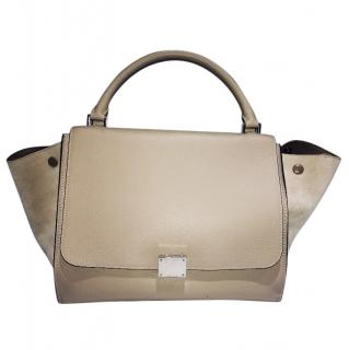 Celine Trapeze leather tote bag in Beige